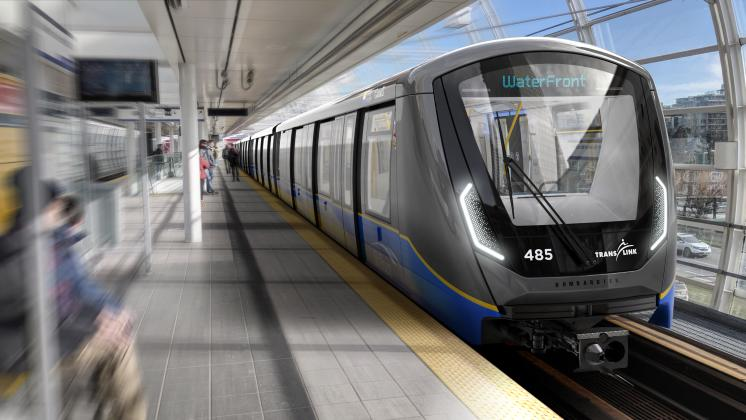 Rendering of new rail cars for Vancouver's SkyTrain