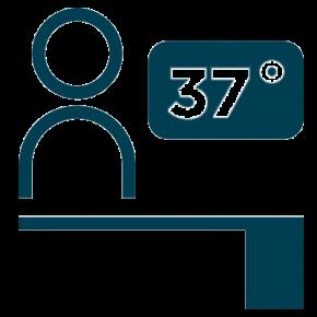 Icon depicting a temperature check